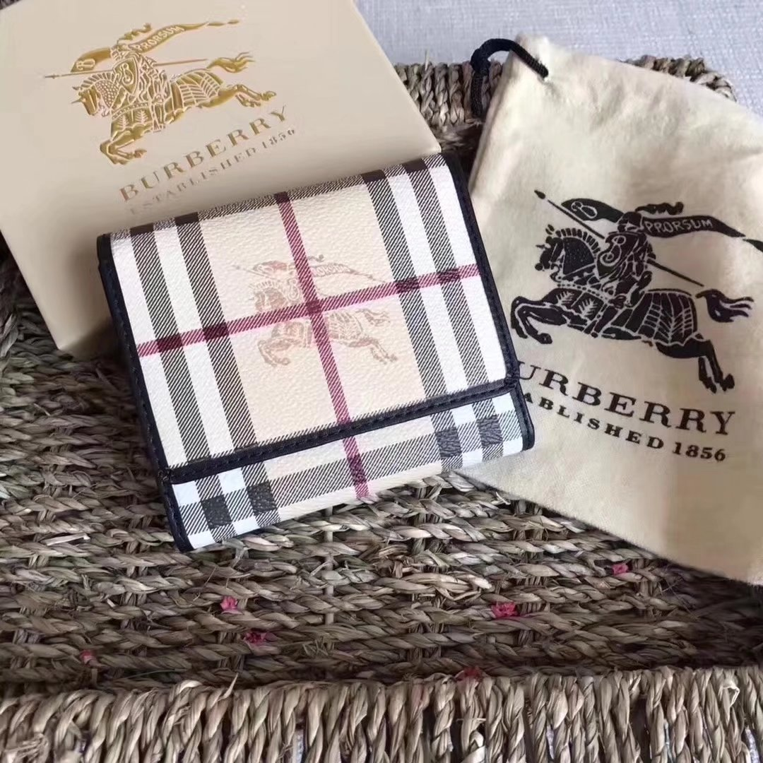 Burberry Haymarket Check and Leather Women Small Wallet