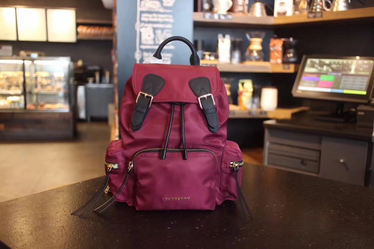 Burberry The Small Dark Red Rucksack in Technical Nylon and Leather