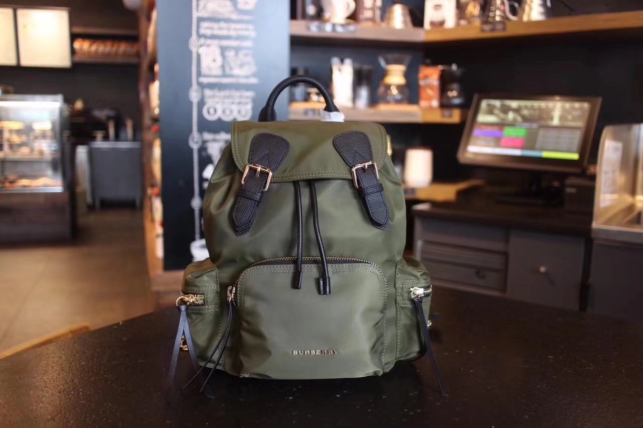 Burberry The Small Green Rucksack in Technical Nylon and Leather