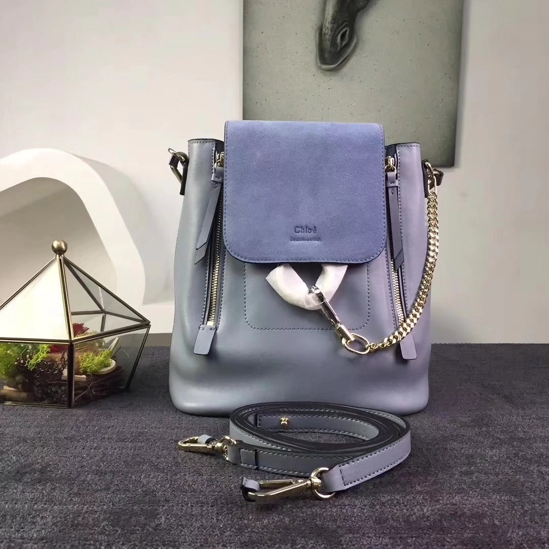 Chloe Small Faye Backpack in Smooth Suede Calfskin With Removable Straps Blue