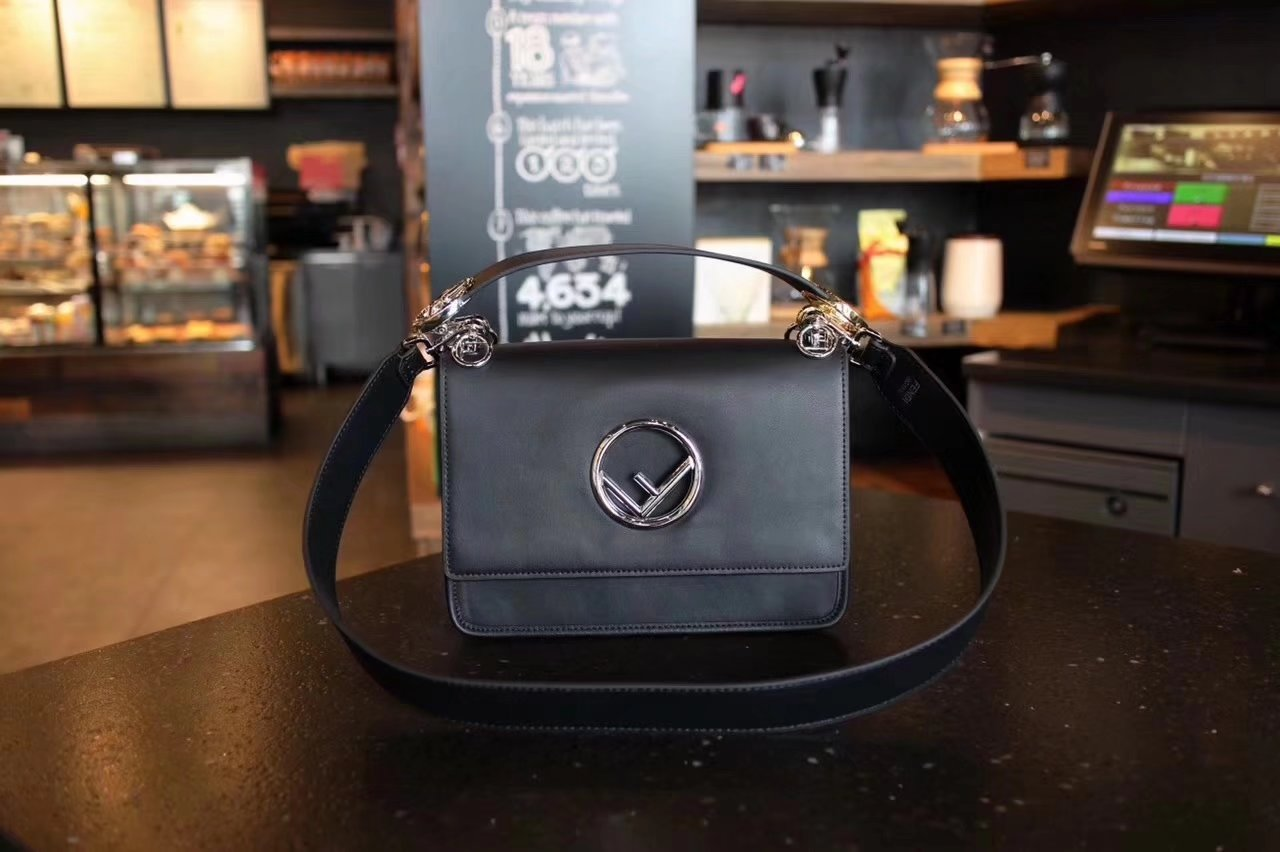 Fendi Kan I F Bag with Flap and New Fendi Logo Black Leather