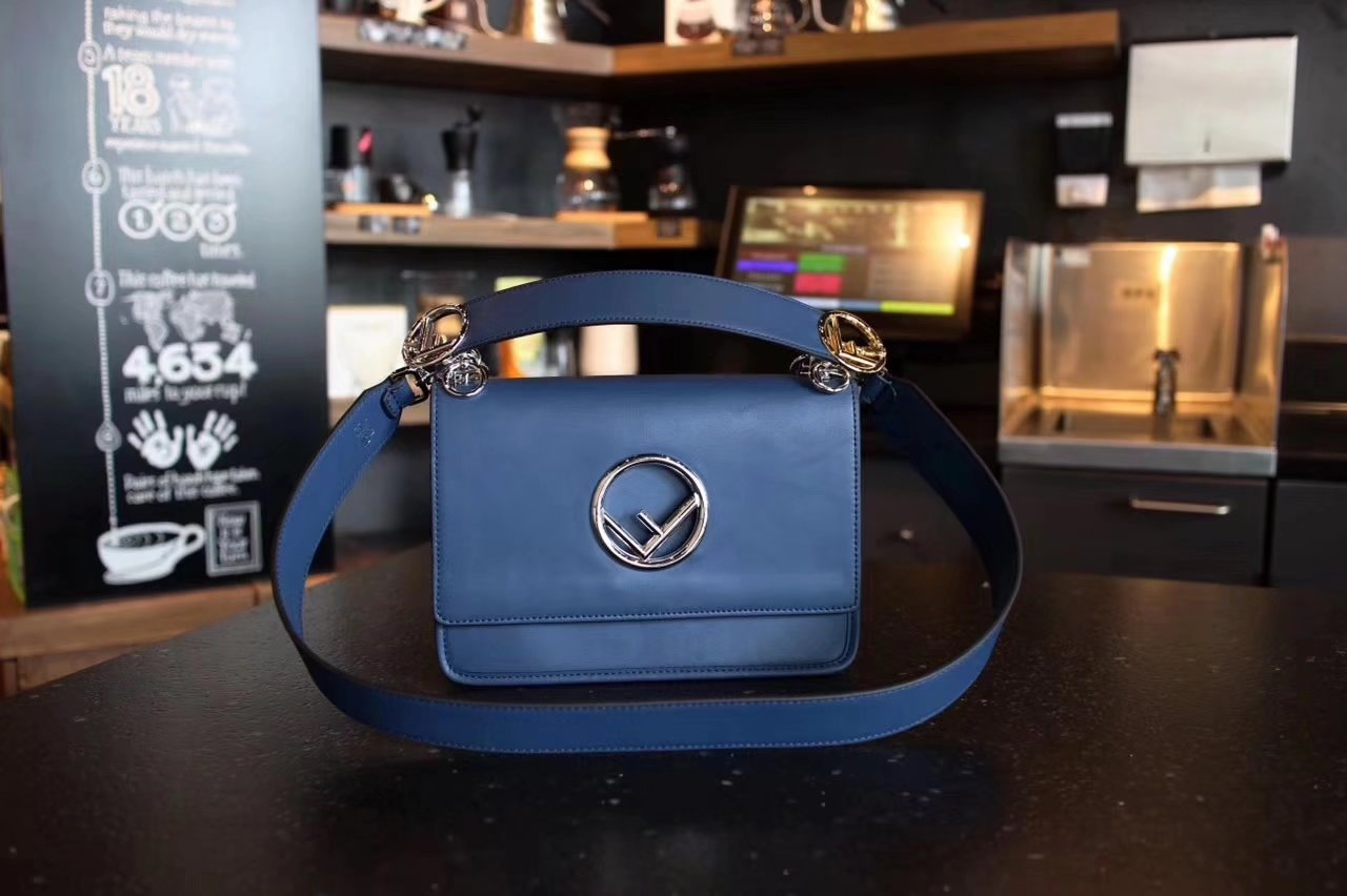 Fendi Kan I F Bag with Flap and New Fendi Logo Blue Leather