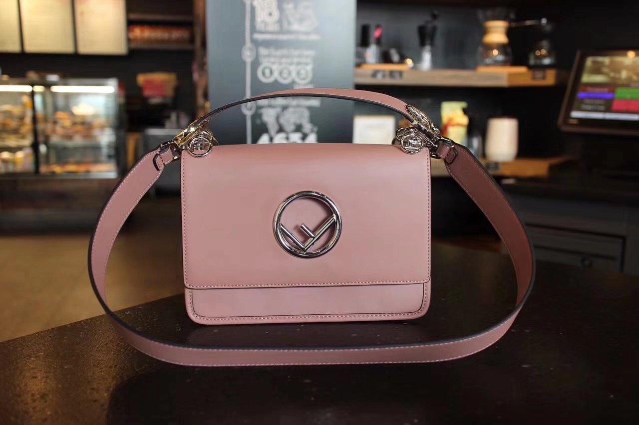 Fendi Kan I F Bag with Flap and New Fendi Logo Pink Leather