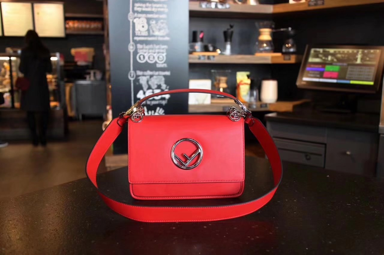 Fendi Kan I F Bag with Flap and New Fendi Logo Red Leather