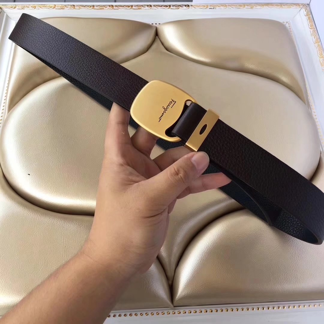 Ferragamo 040 Men Leather Reversible Belt With Gold Buckle