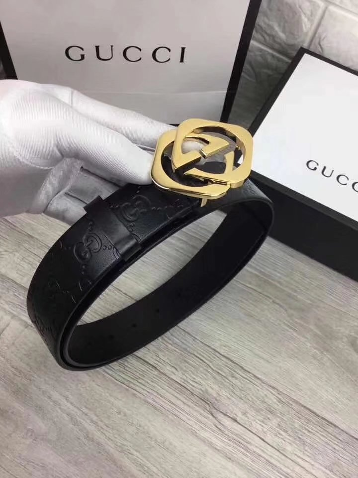 Gucci Men Leather Blet With Gold Buckle 017