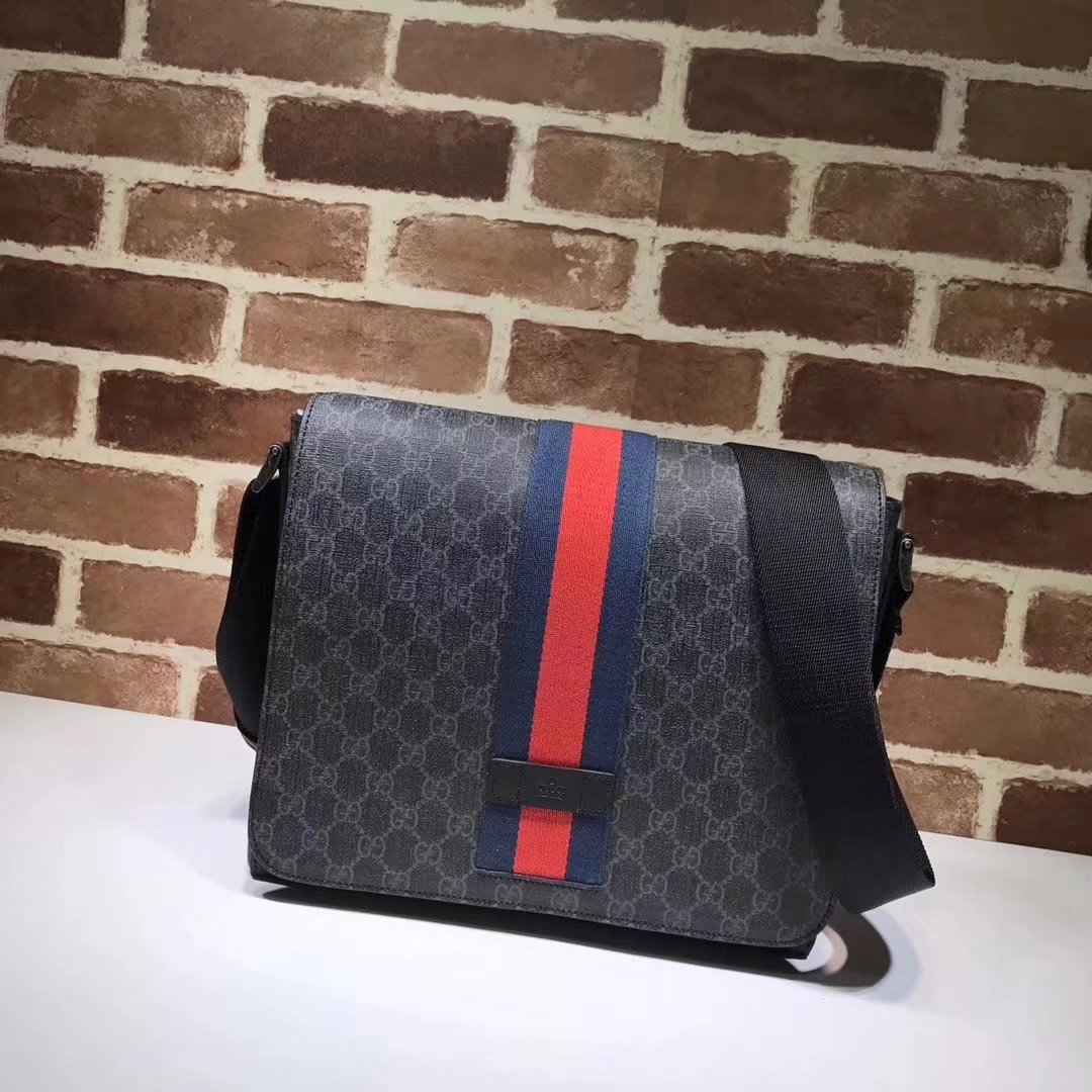 Gucci 475432 GG Supreme Men Messenger Bag Black