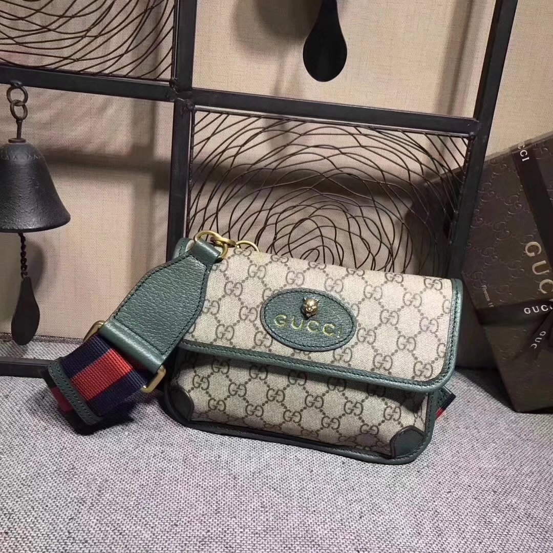 Gucci 489617 GucciTotem GG Supreme Messenger Bag Green