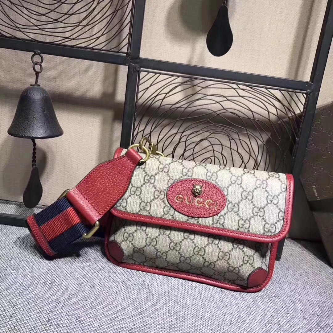 Gucci 489617 GucciTotem GG Supreme Messenger Bag Red