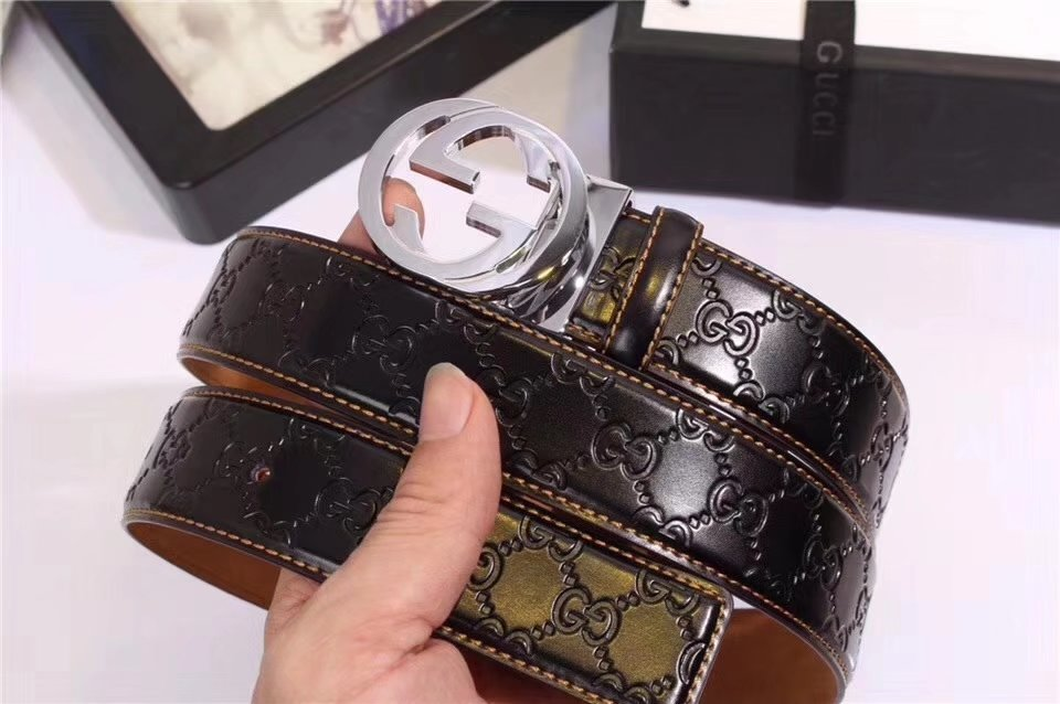 Gucci Men Leather Blet With Silver Buckle 021