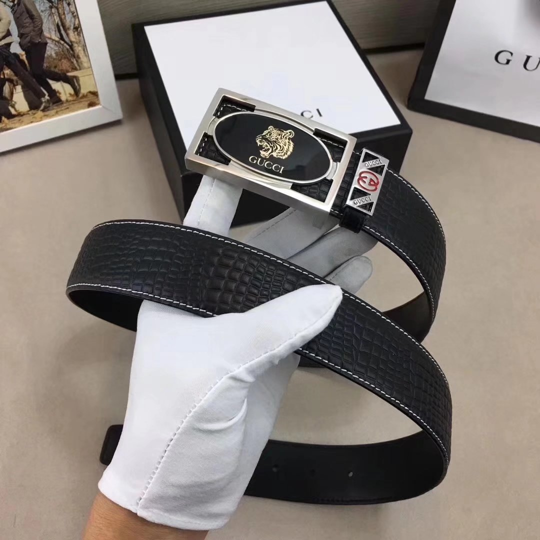 Gucci Men Leather Blet With Silver Buckle 025