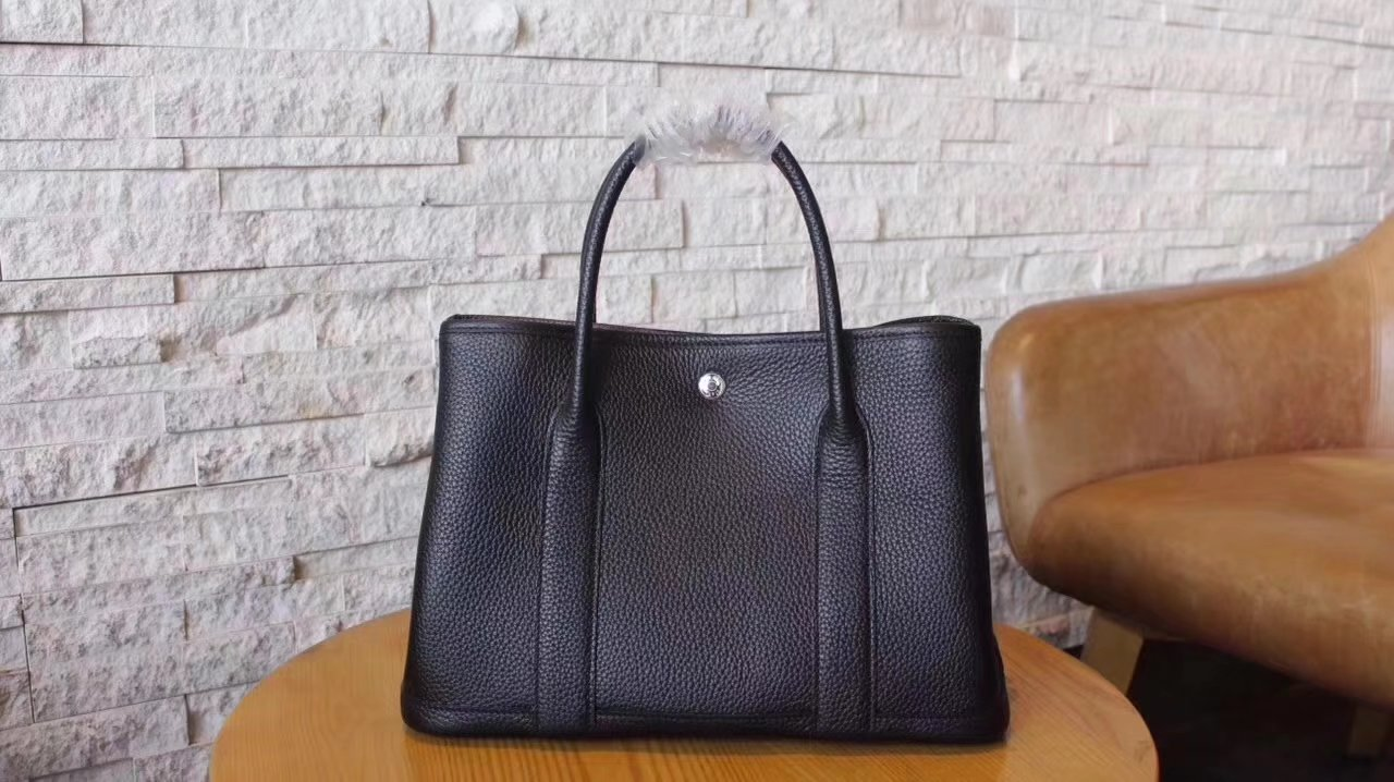 Hermes Garden Party Togo Leather Handbag Black With Silver Hardware
