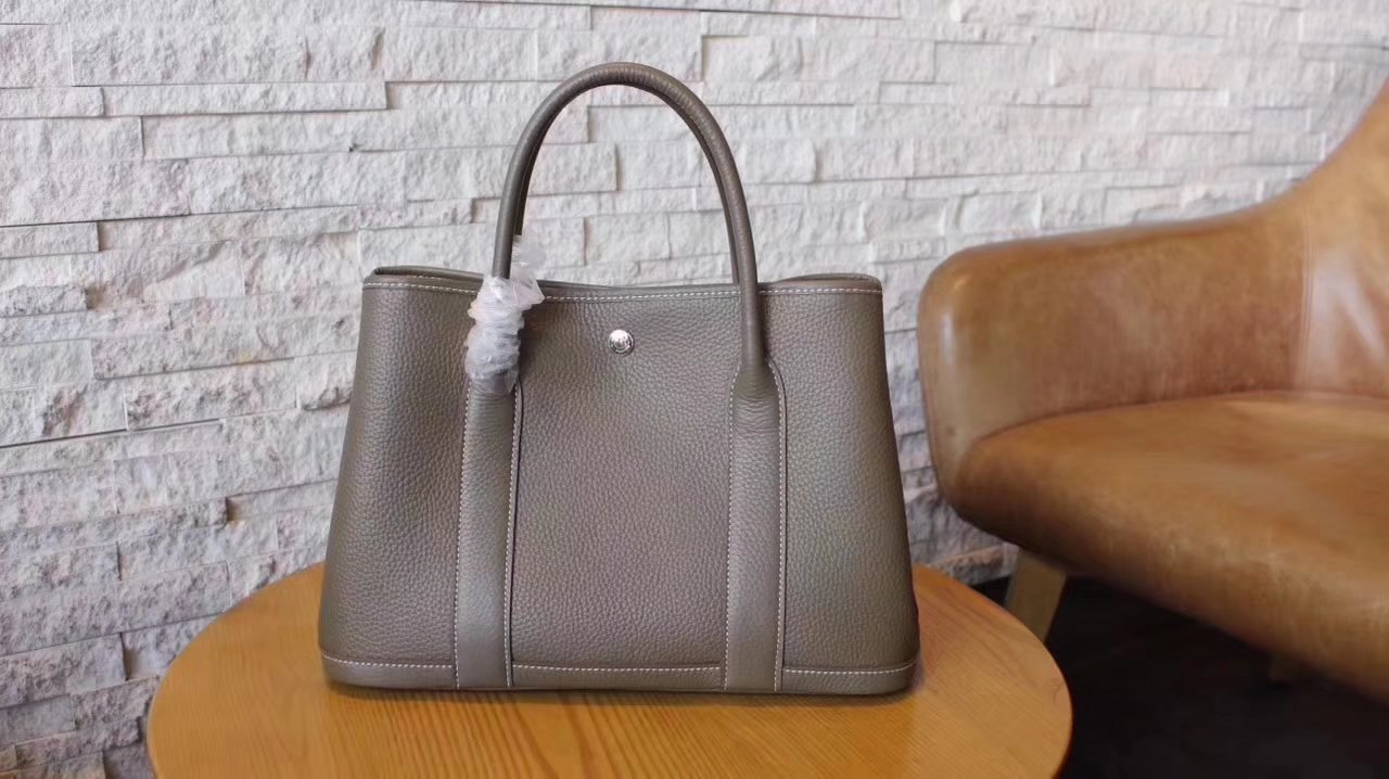Hermes Garden Party Togo Leather Handbag Grey With Silver Hardware