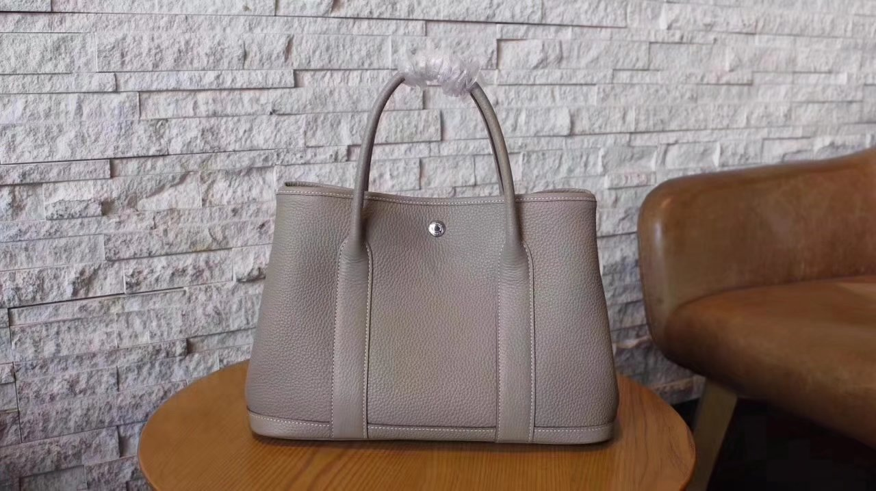 Hermes Garden Party Togo Leather Handbag Light Gray With Silver Hardware