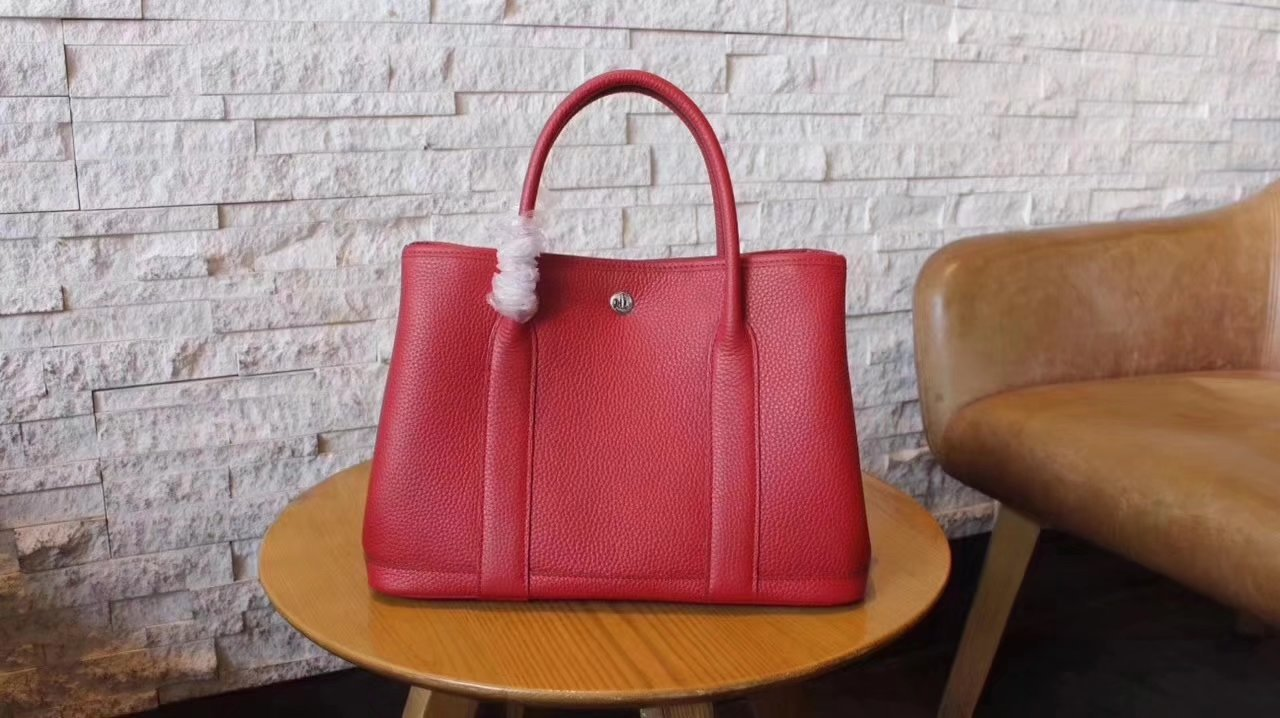 Hermes Garden Party Togo Leather Handbag Red With Silver Hardware