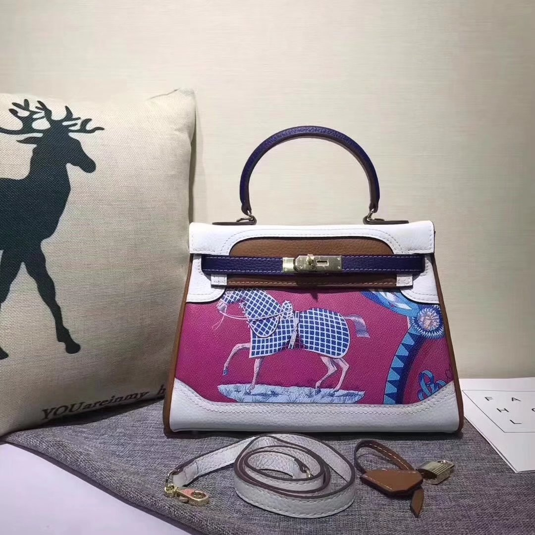 Hermes Kelly 28cm Horse Print Togo Leather Handbag White Coffee