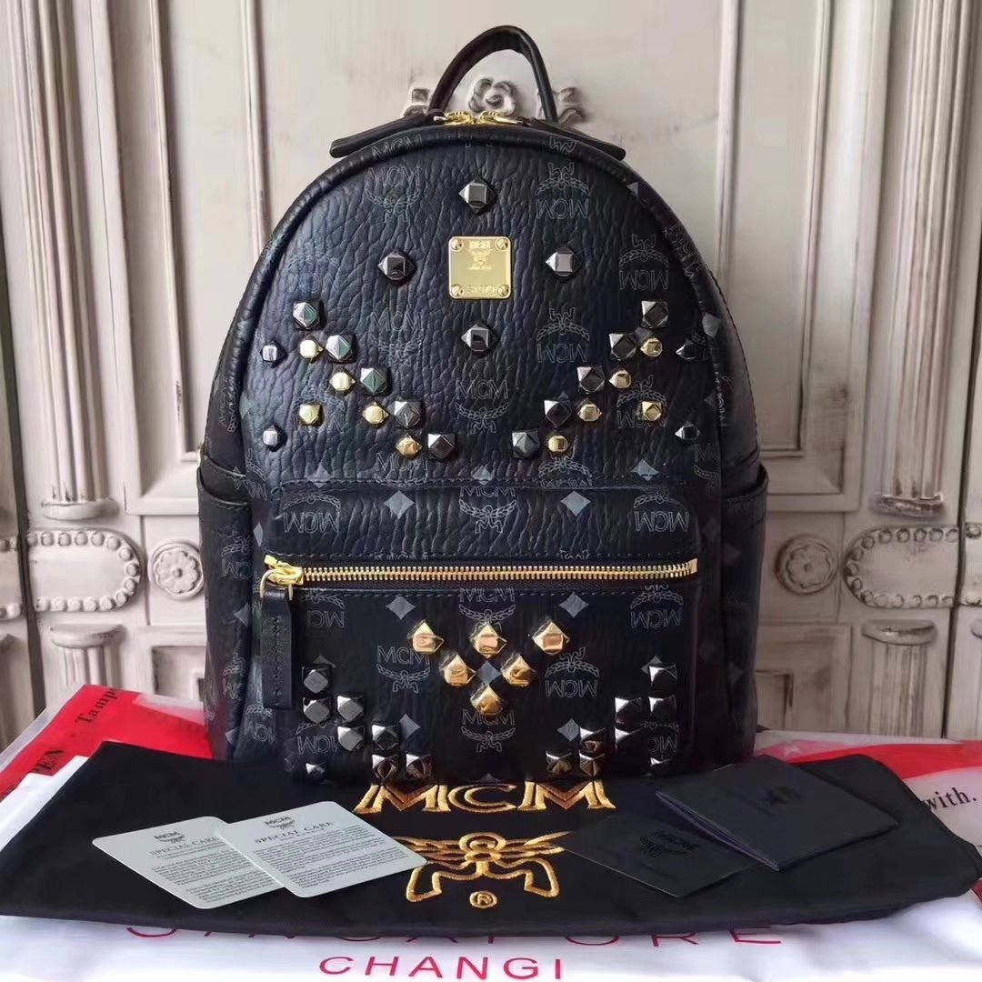 MCM Women Stark Backpack In Studded Visetos 3Size Black