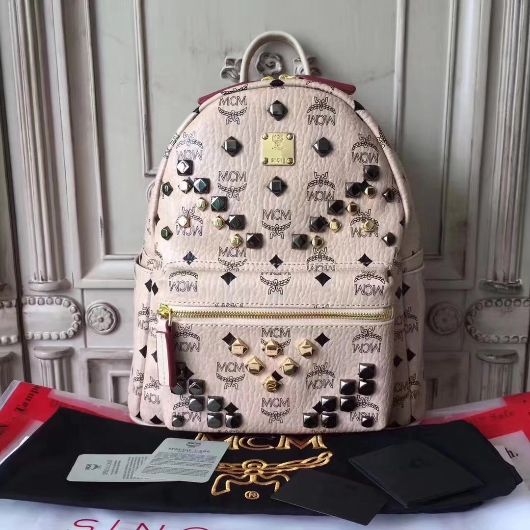 MCM Women Stark Backpack In Studded Visetos 3Size White-1