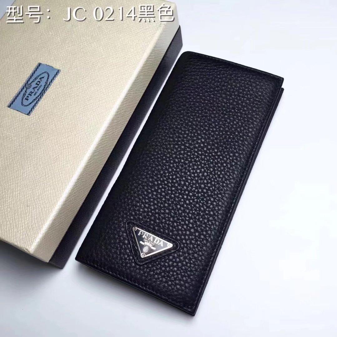 Prada JC0214 Leather Men Long Wallet Black