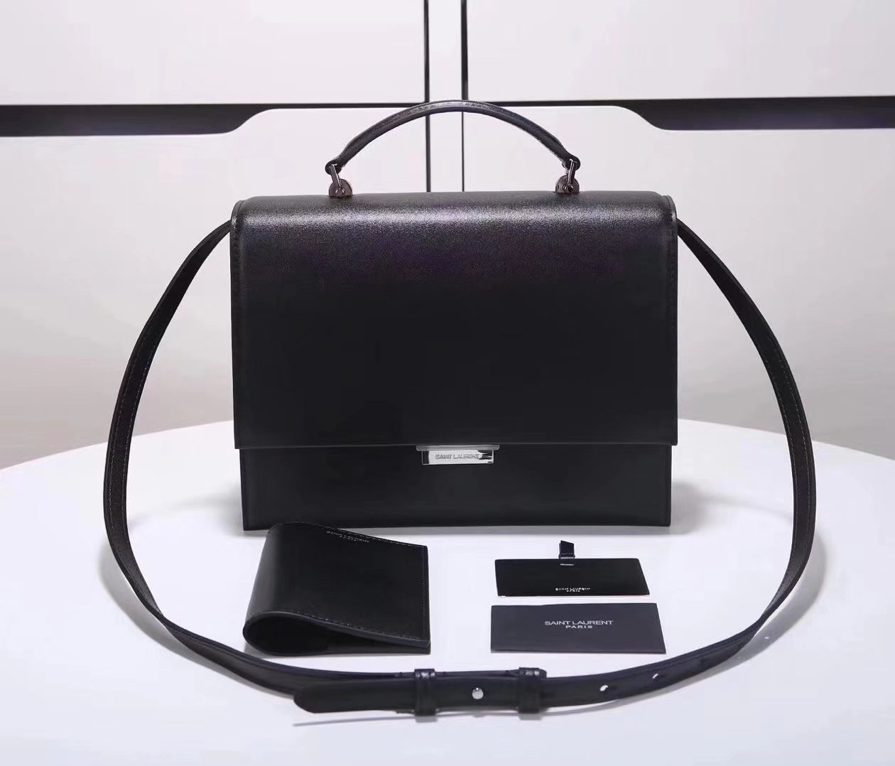Saint Laurent Babylone Medium Top Handle Bag Black Leather