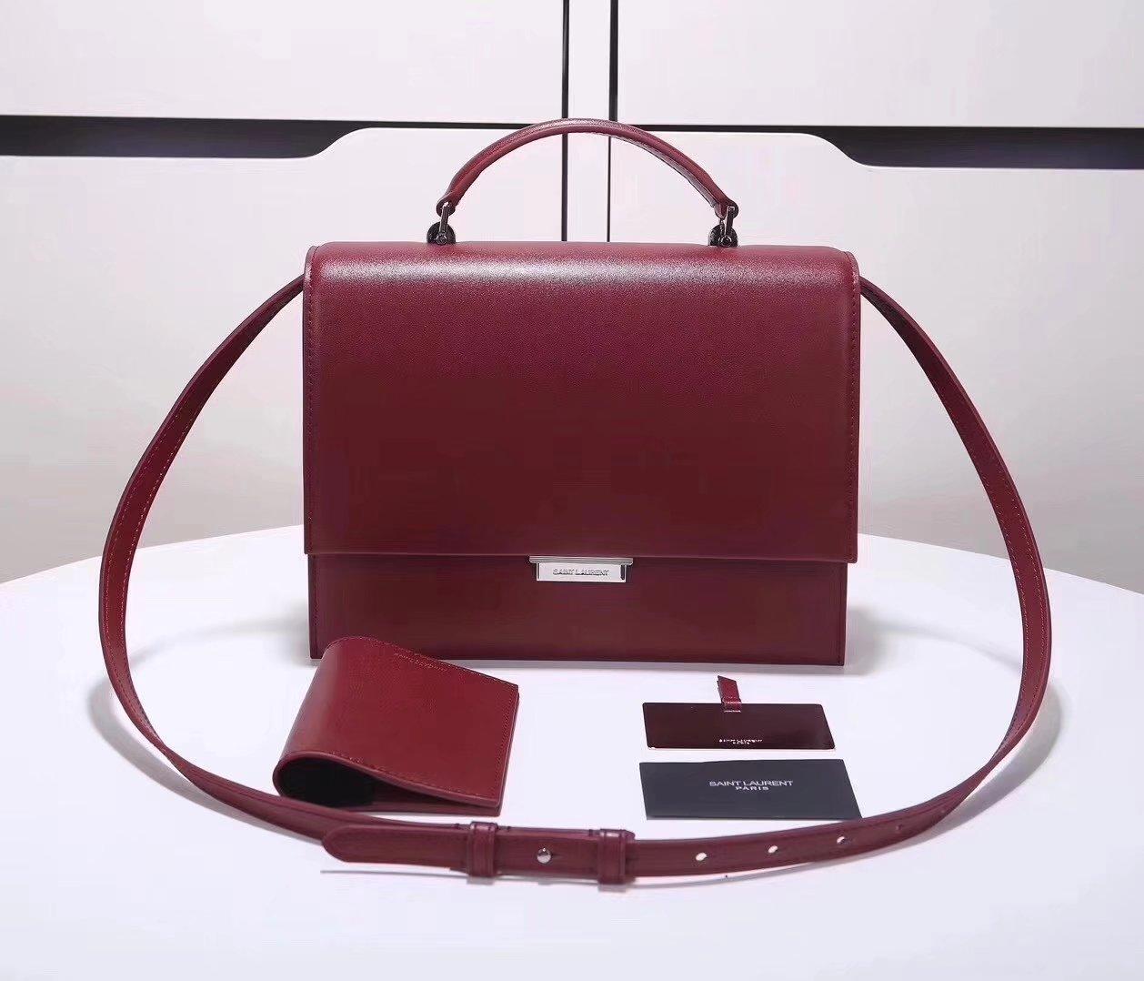 Saint Laurent Babylone Medium Top Handle Bag Red Leather
