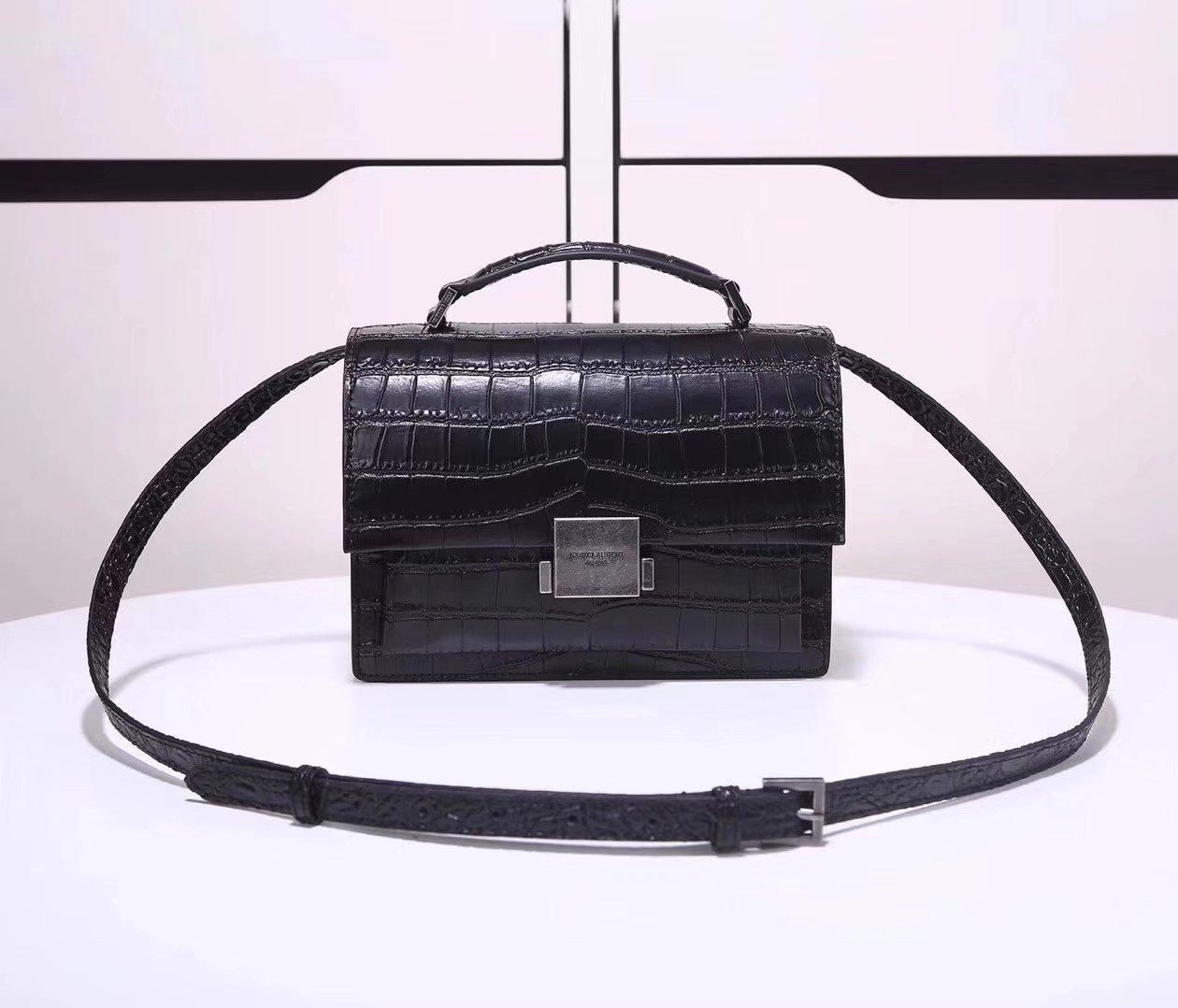 Saint Laurent Medium Bellechasse Bag In Crocodile Embossed Matte Black Leather