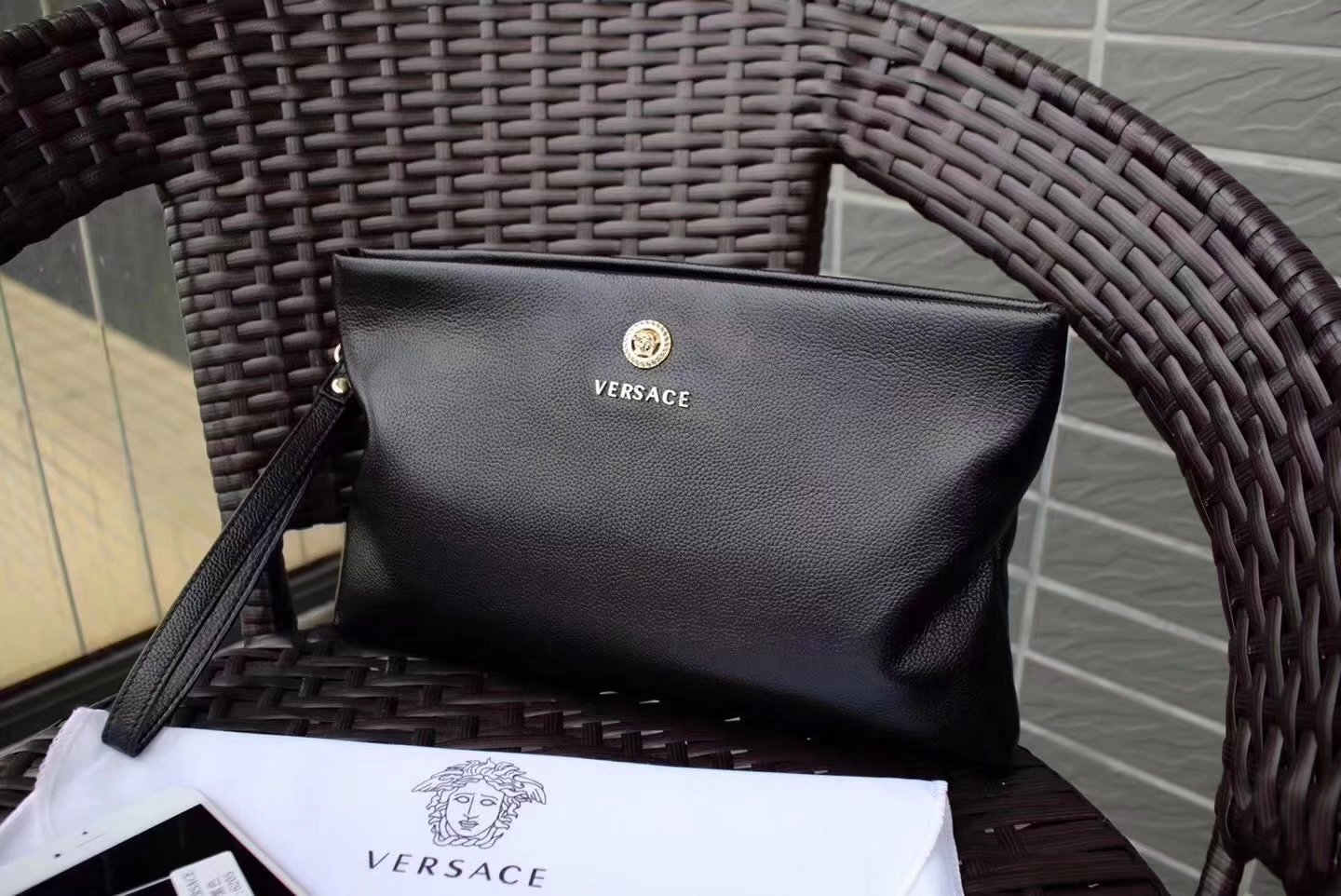 Versace 6205 Leather Men Clutch Bag Black