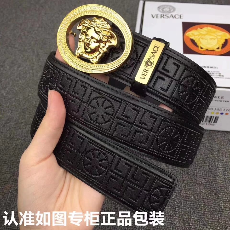 Versace Men Leather Belt With Gold Buckle 009