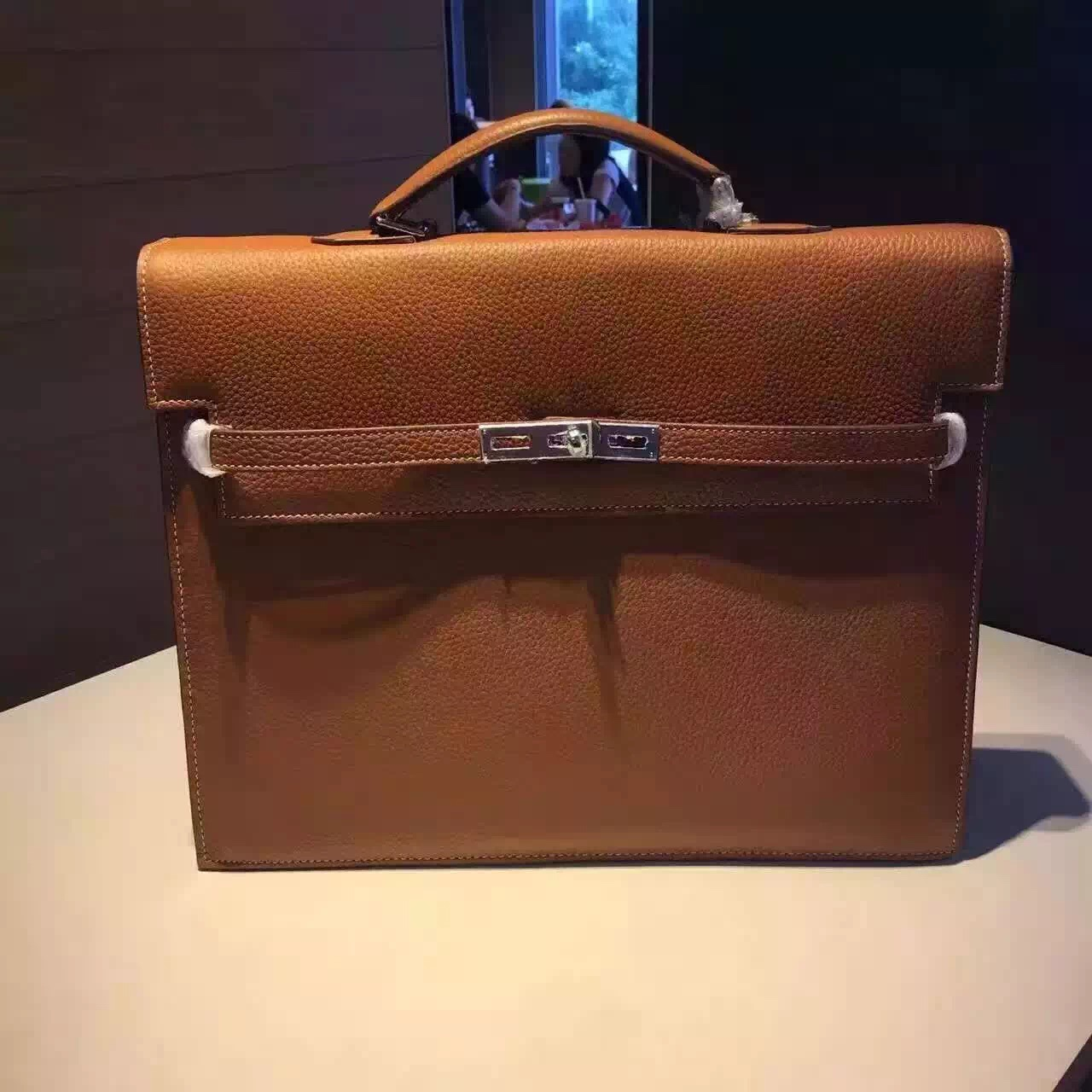 2017 Hermes Kelly Depeche Clemence Leather Briefcase White Gold