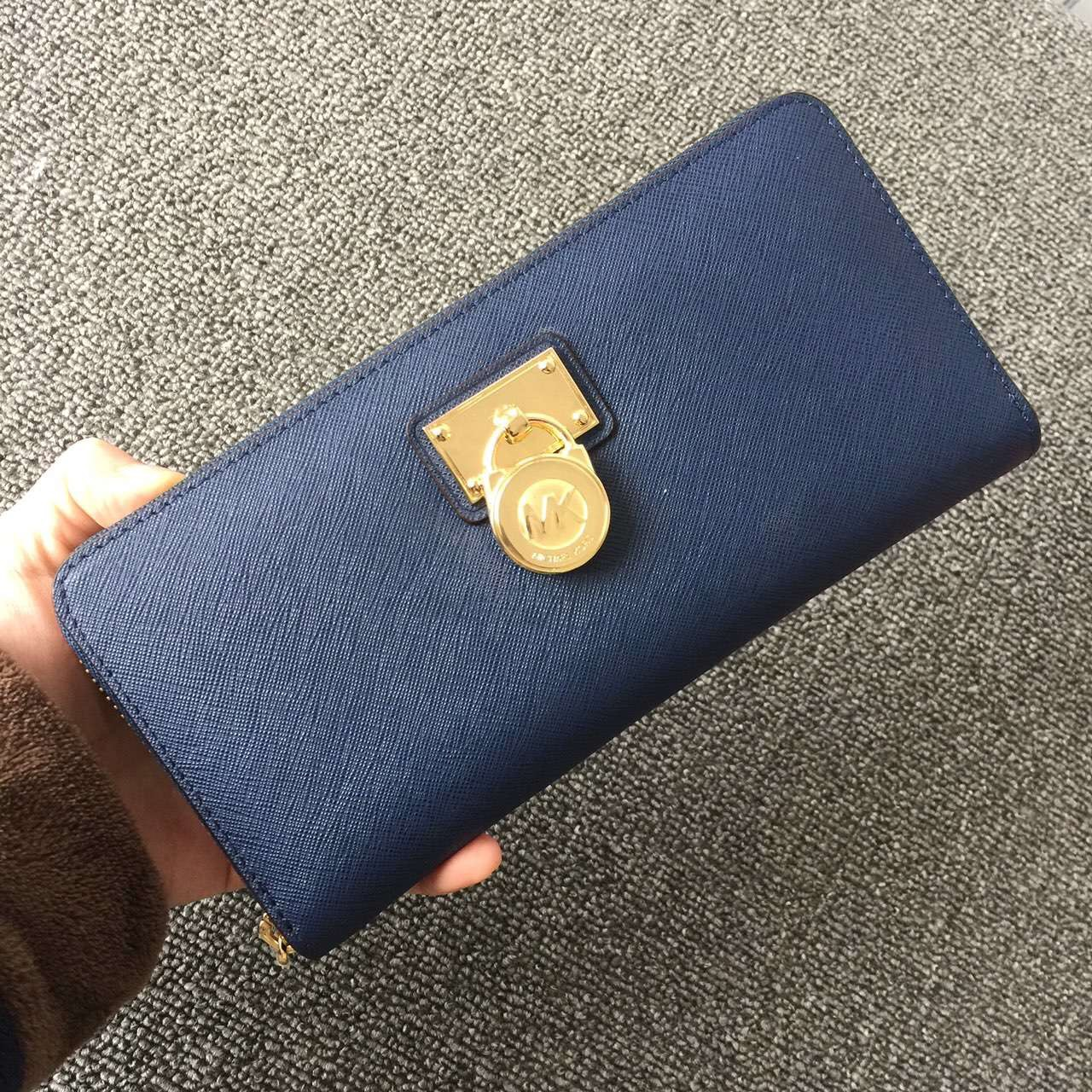 2017 New Michael Kors Lock Women Small Wallets Blue