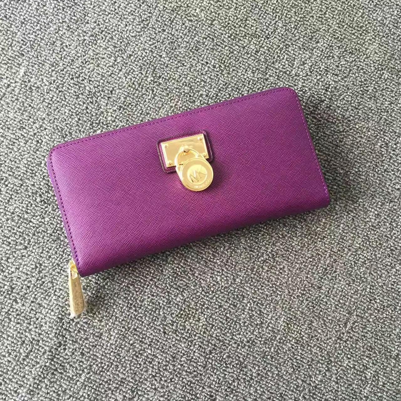 2017 New Michael Kors Lock Women Small Wallets Purple