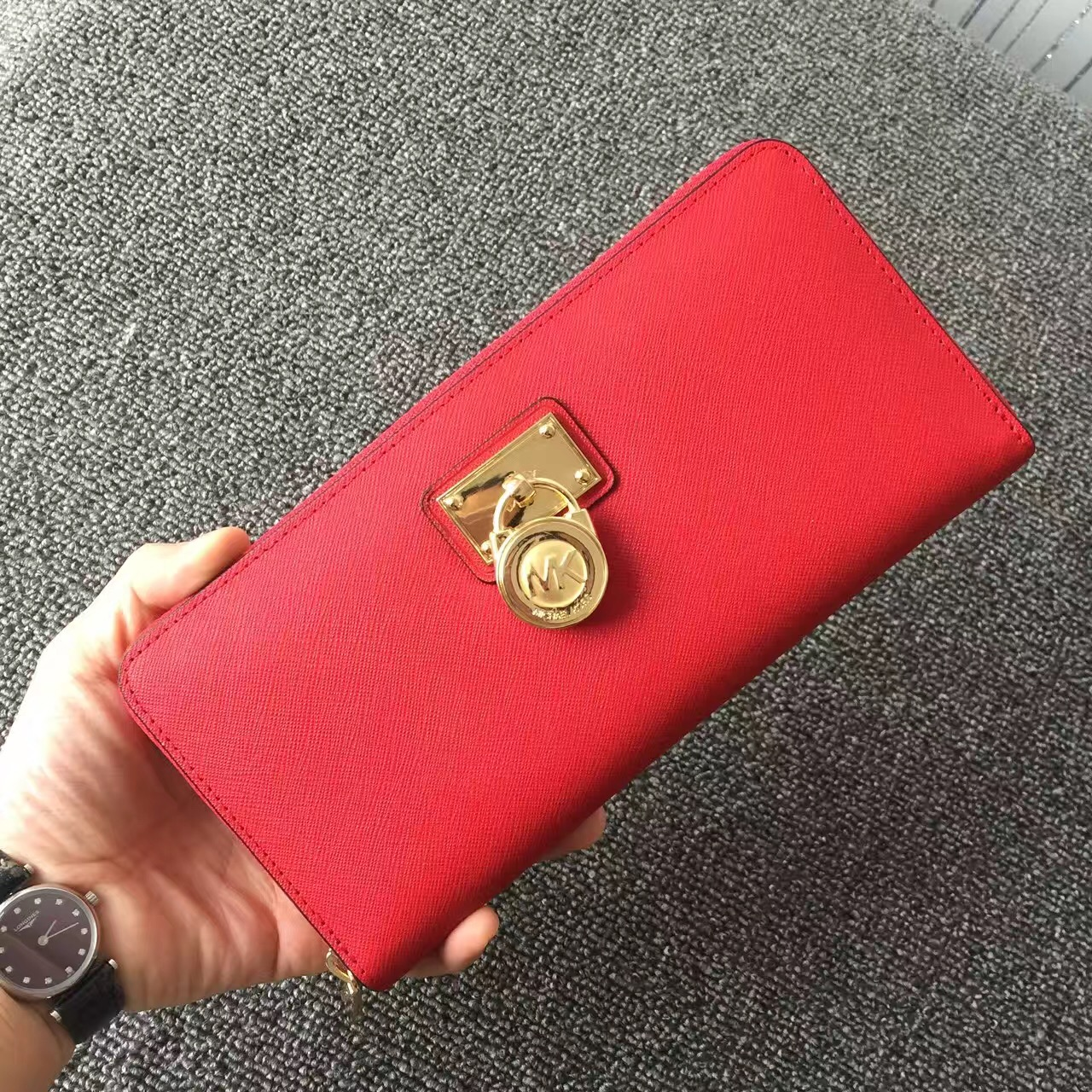 2017 New Michael Kors Lock Women Small Wallets Red