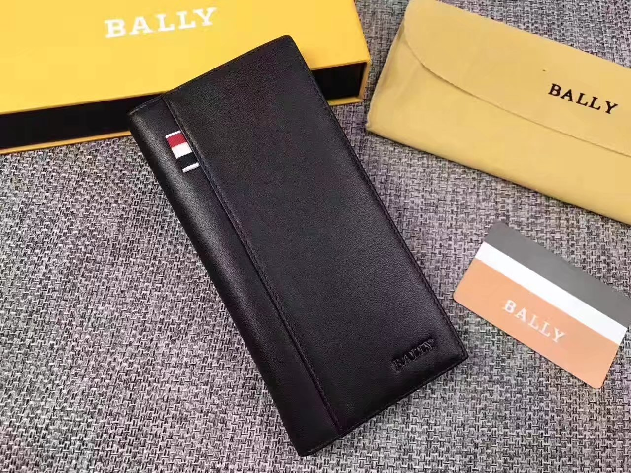 Bally BA001 Leather Men Long Wallet Black