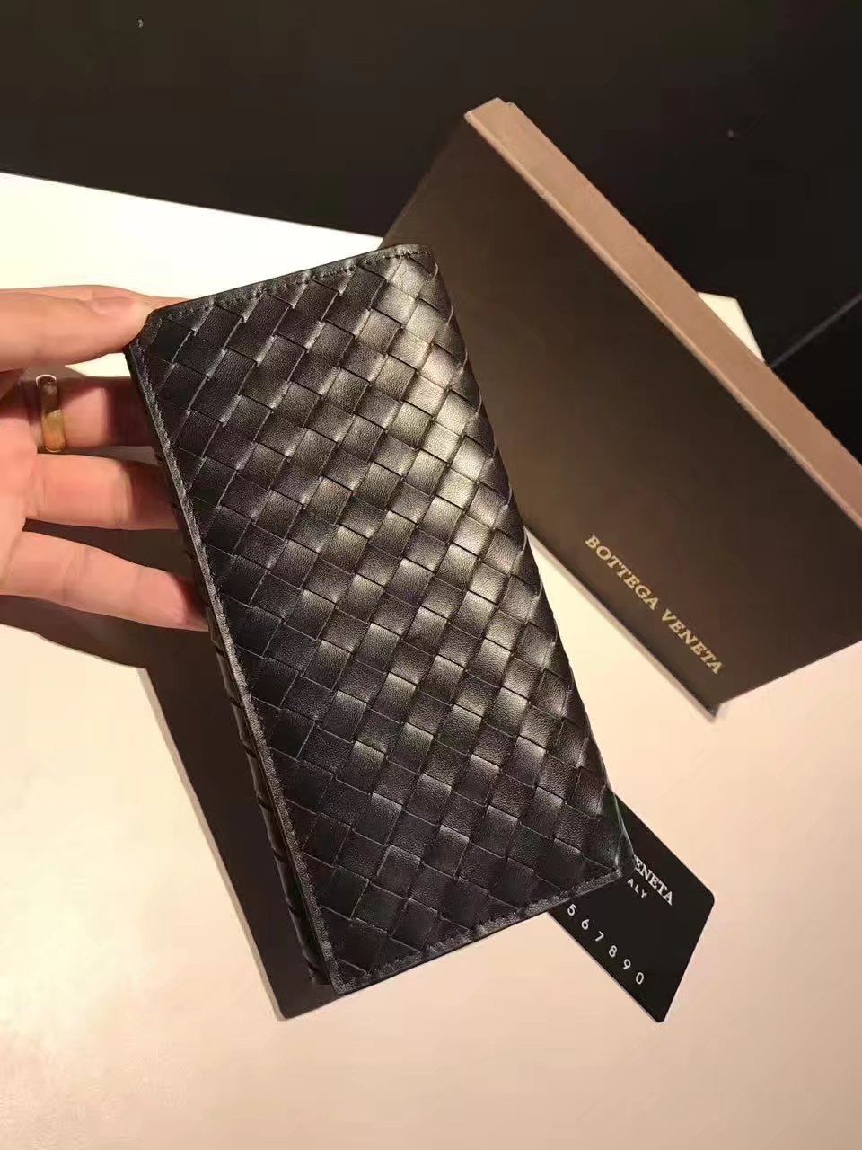 Bottega Veneta Denim Intrecciato Calf Continental Men Wallet Black
