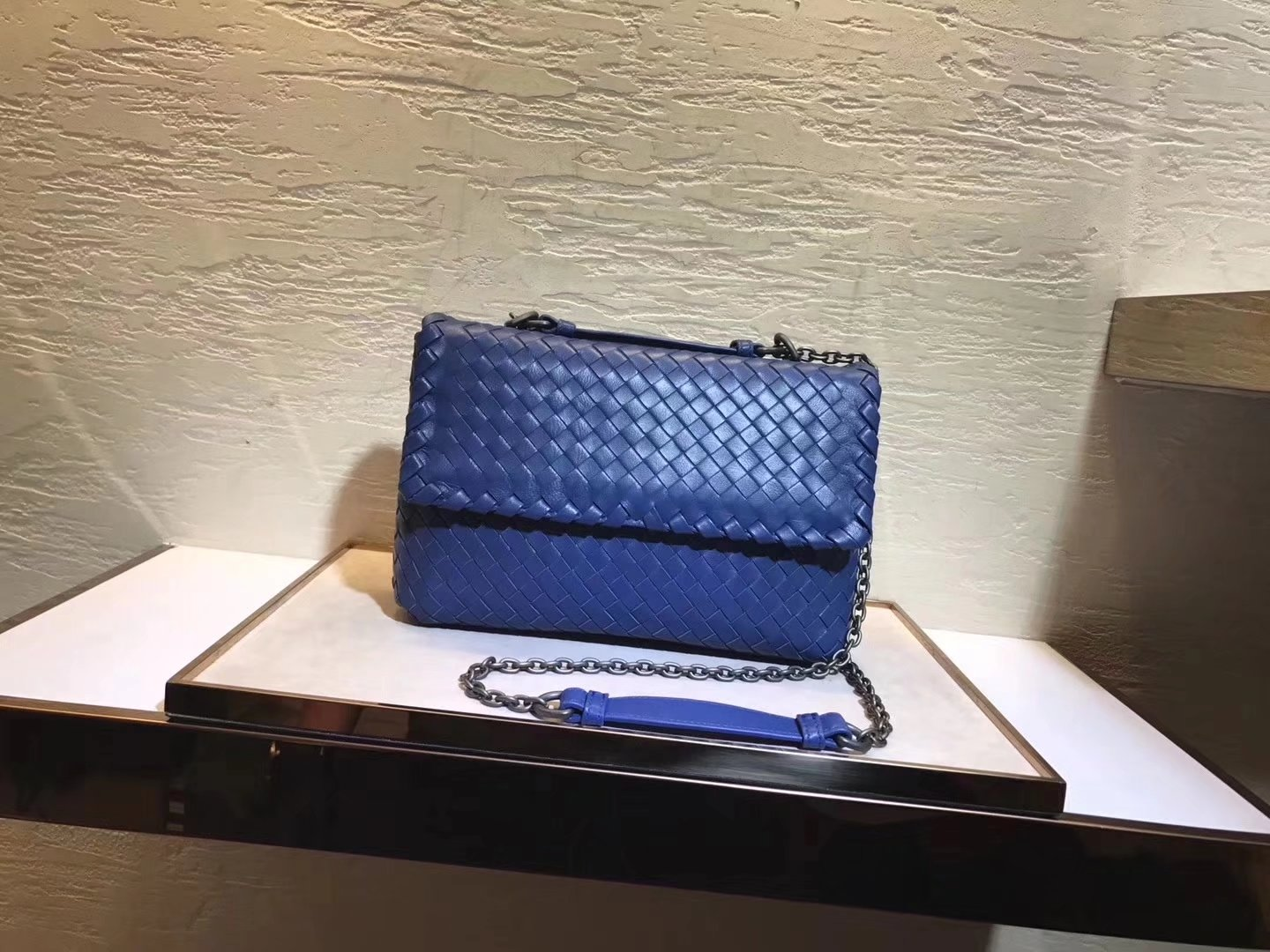 Bottega Veneta Pacific Intrecciato Nappa Baby Olimpia Bag Blue
