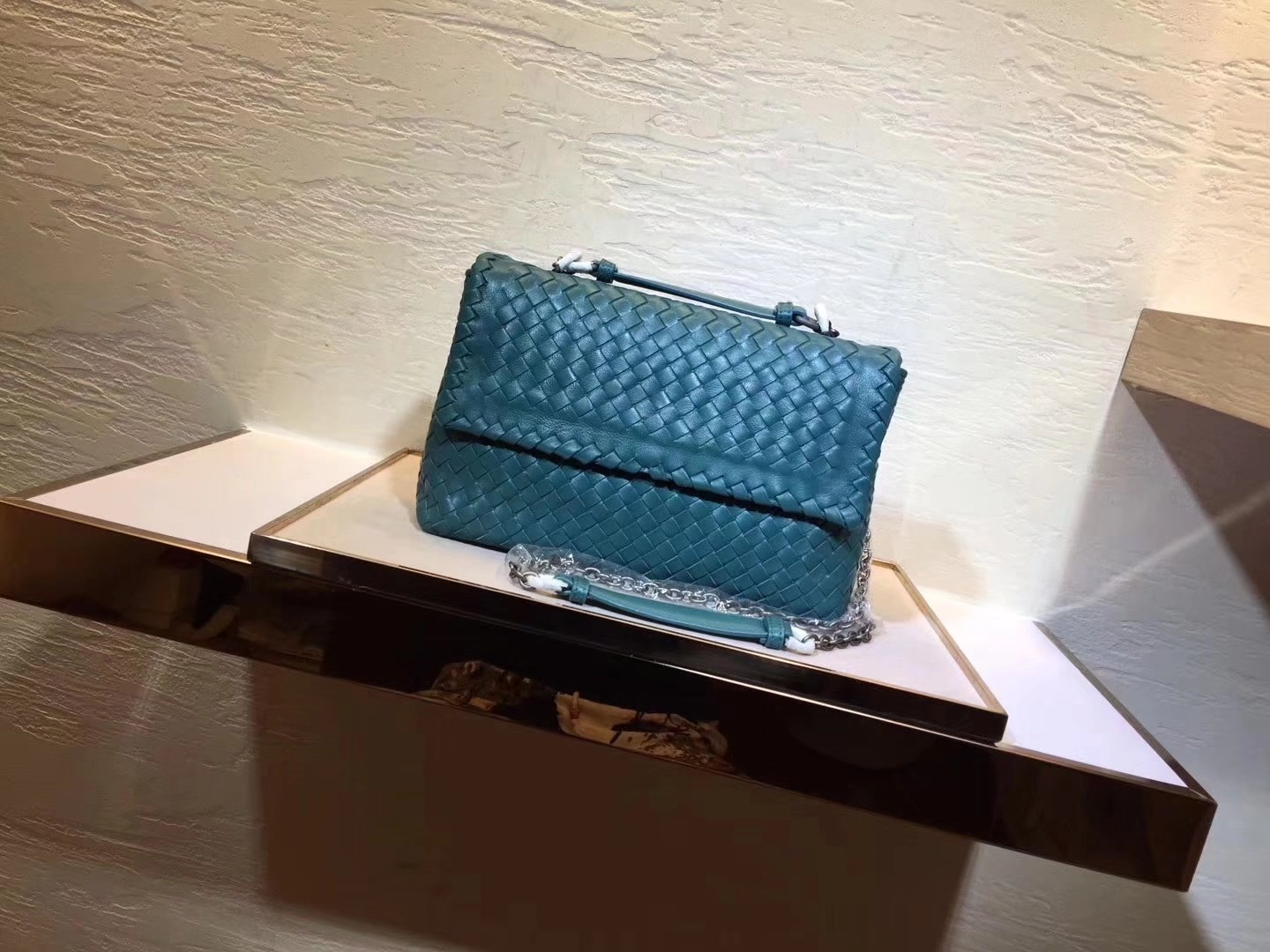 Bottega Veneta Pacific Intrecciato Nappa Baby Olimpia Bag Green