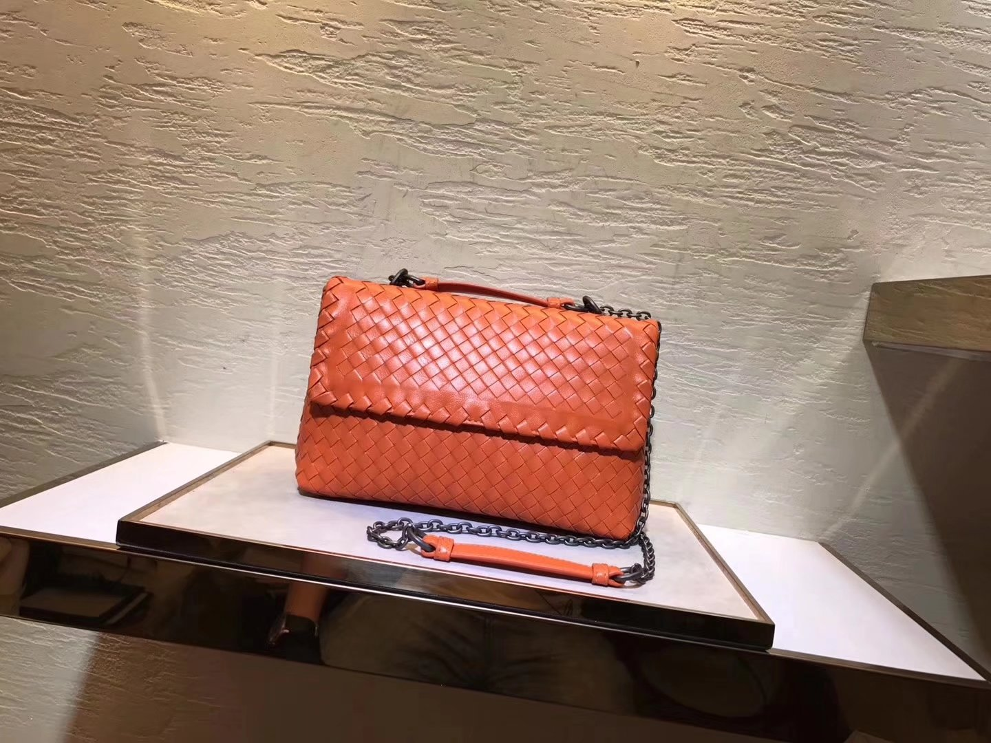 Bottega Veneta Pacific Intrecciato Nappa Baby Olimpia Bag Orange