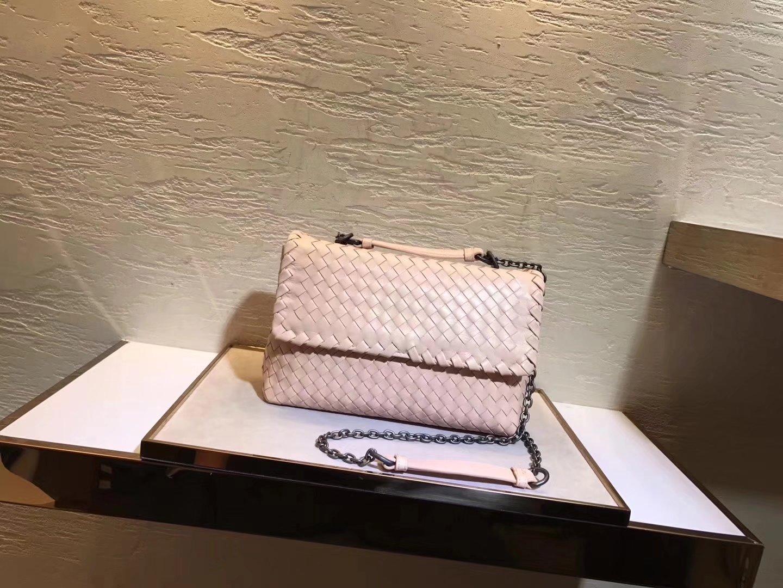 Bottega Veneta Pacific Intrecciato Nappa Baby Olimpia Bag Pink