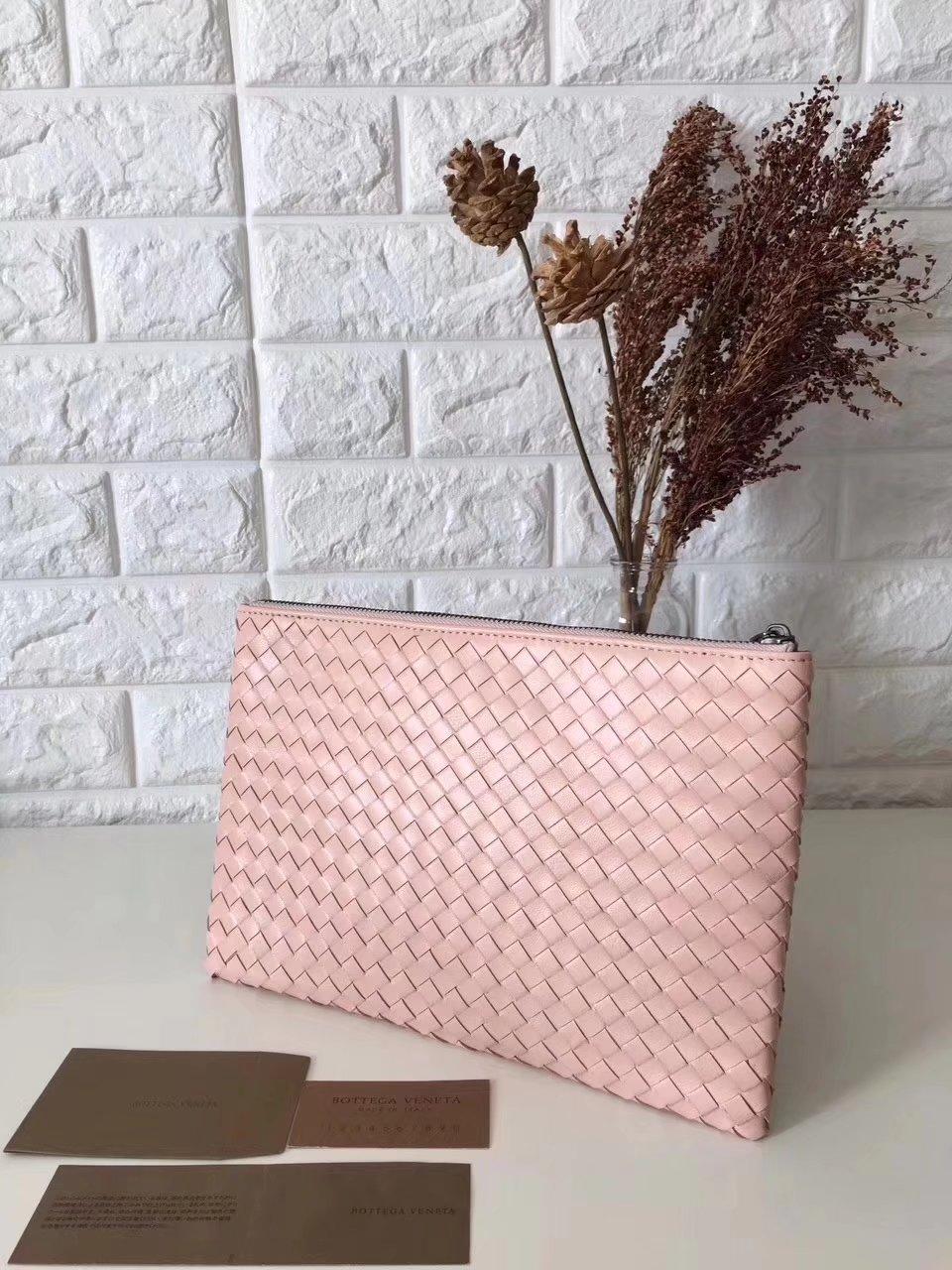 Bottega Veneta Women Leather Clutch Pink