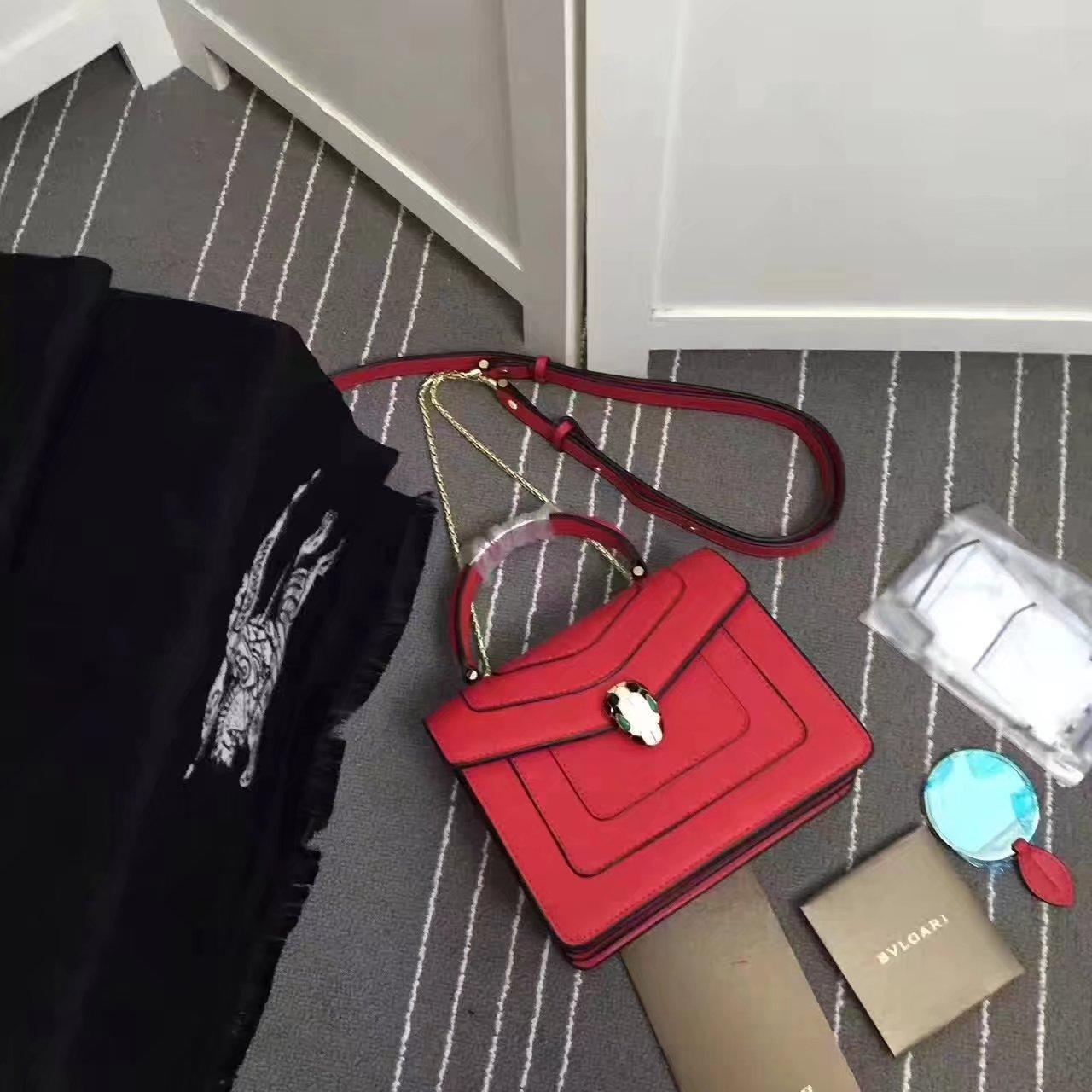 Bulgari Serpenti Forever Flap Cover Bag 20cm Red