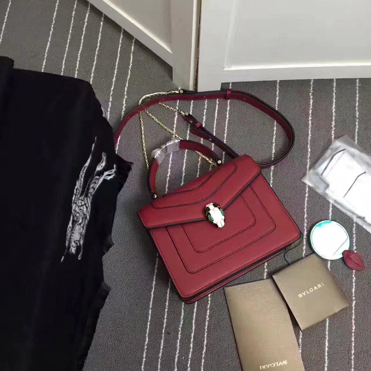 Bulgari Serpenti Forever Flap Cover Bag 20cm Rose