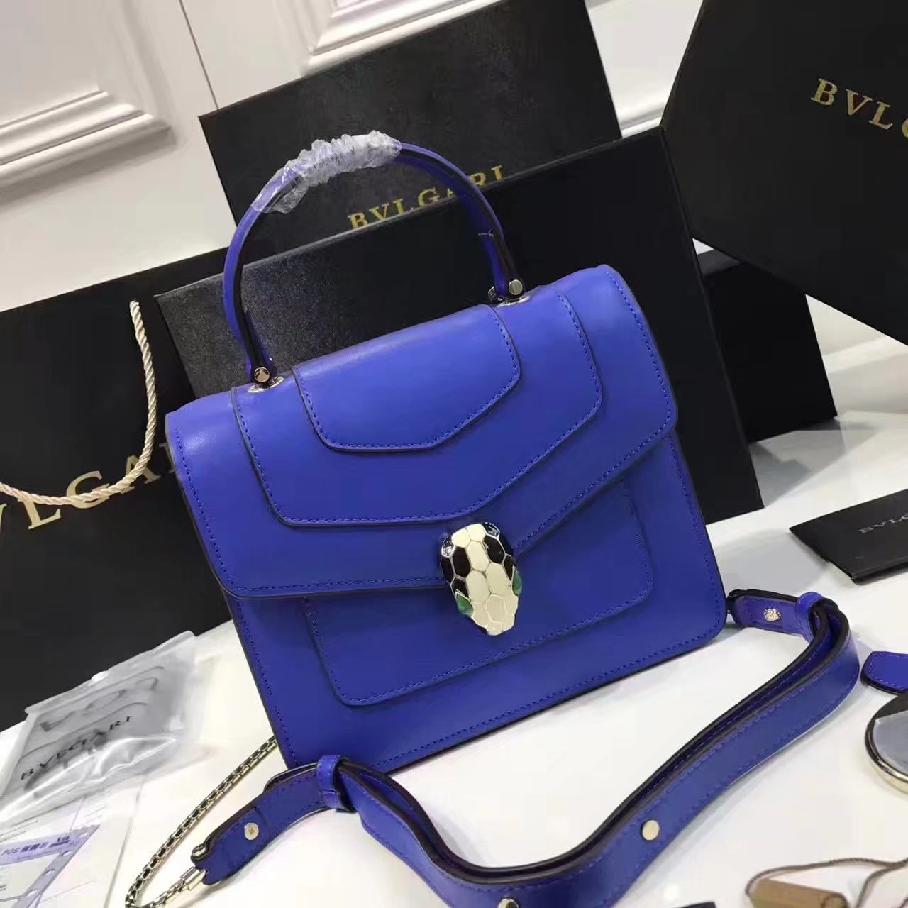 Bulgari Serpenti Forever Flap Cover Bag Blue With Malachite Eyes