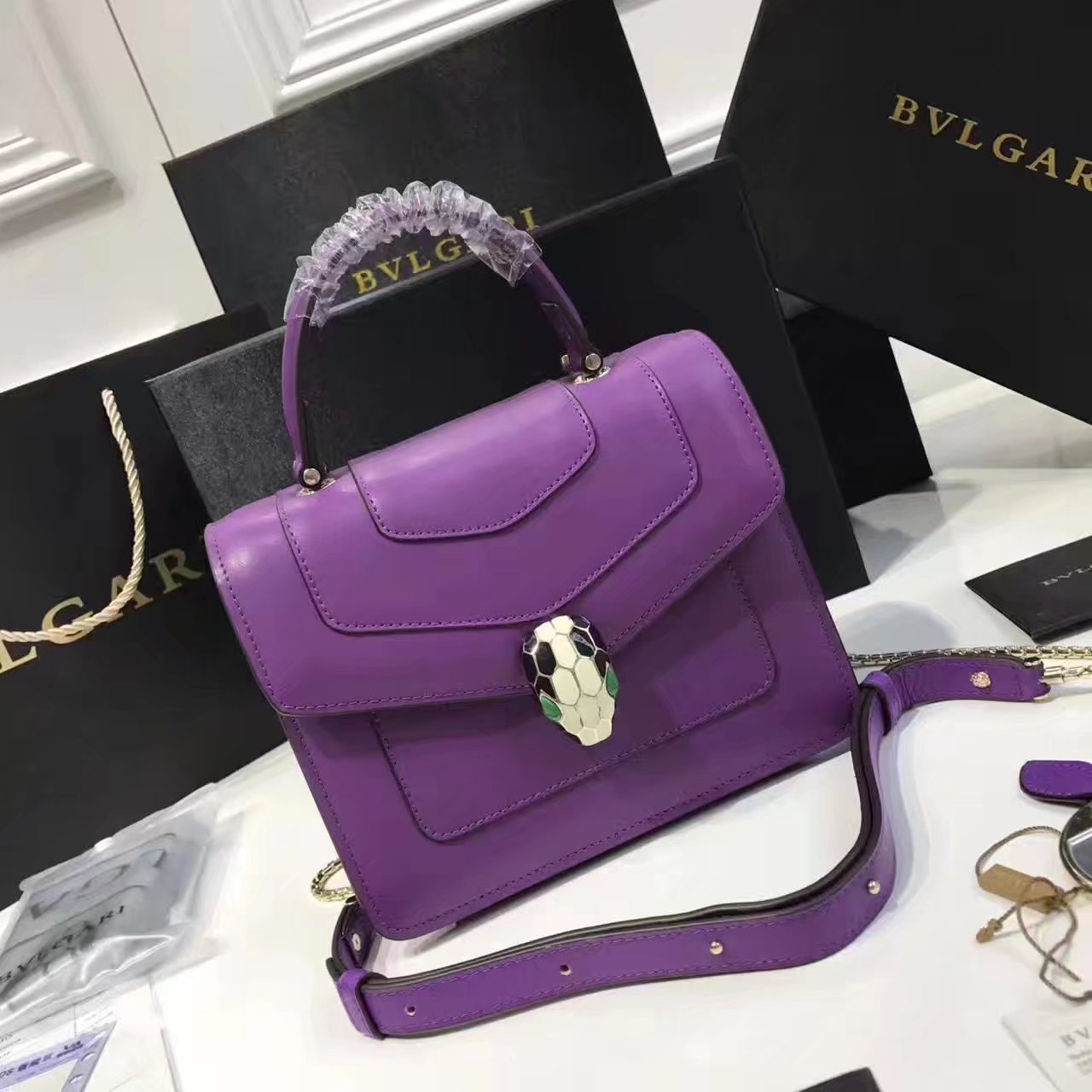Bulgari Serpenti Forever Flap Cover Bag Purple With Malachite Eyes