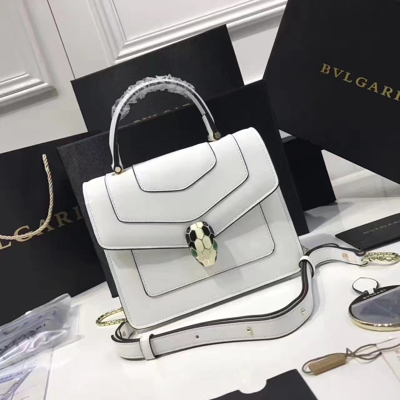 Bulgari Serpenti Forever Flap Cover Bag White With Malachite Eyes