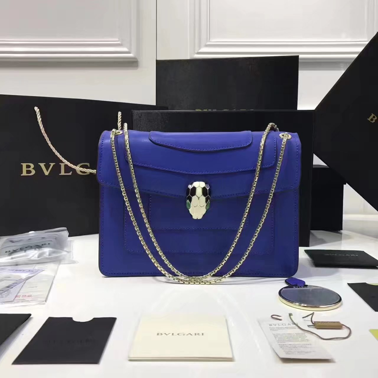 Bulgari Serpenti Forever Flap Cover Chain Shoulder Bag Blue With Malachite Eyes
