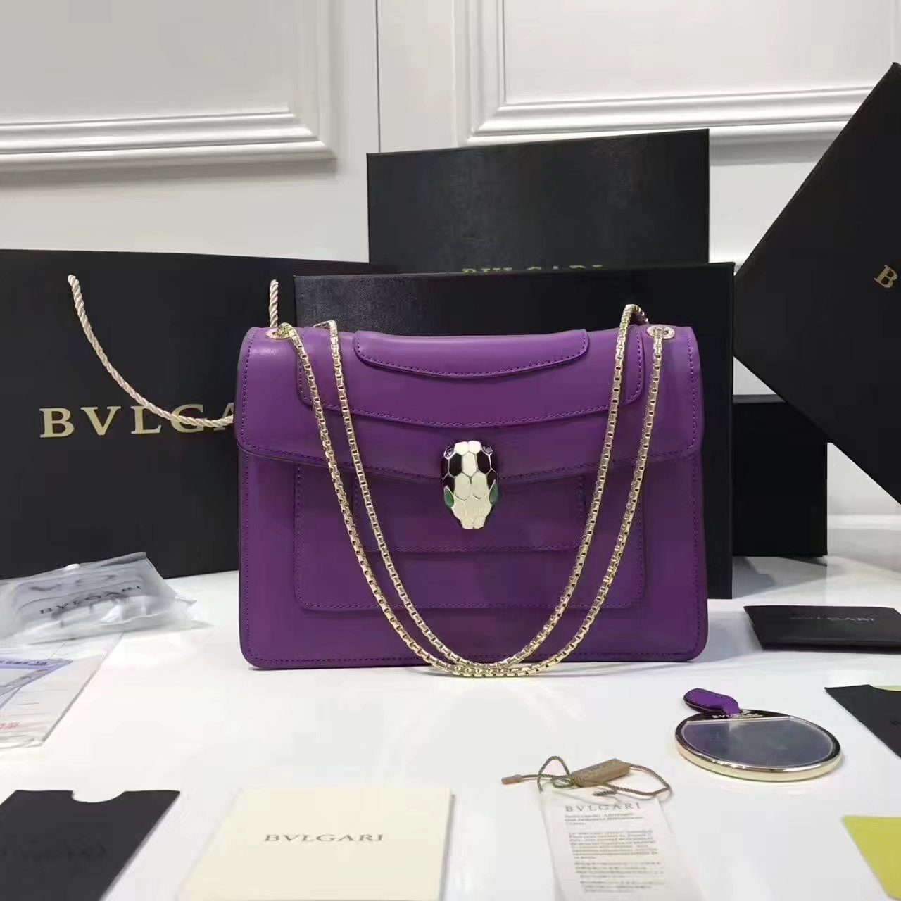 Bulgari Serpenti Forever Flap Cover Chain Shoulder Bag Purple With Malachite Eyes