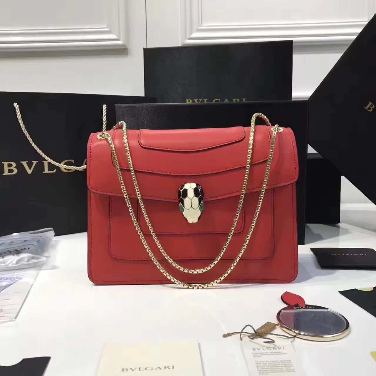 Bulgari Serpenti Forever Flap Cover Chain Shoulder Bag Red With Malachite Eyes
