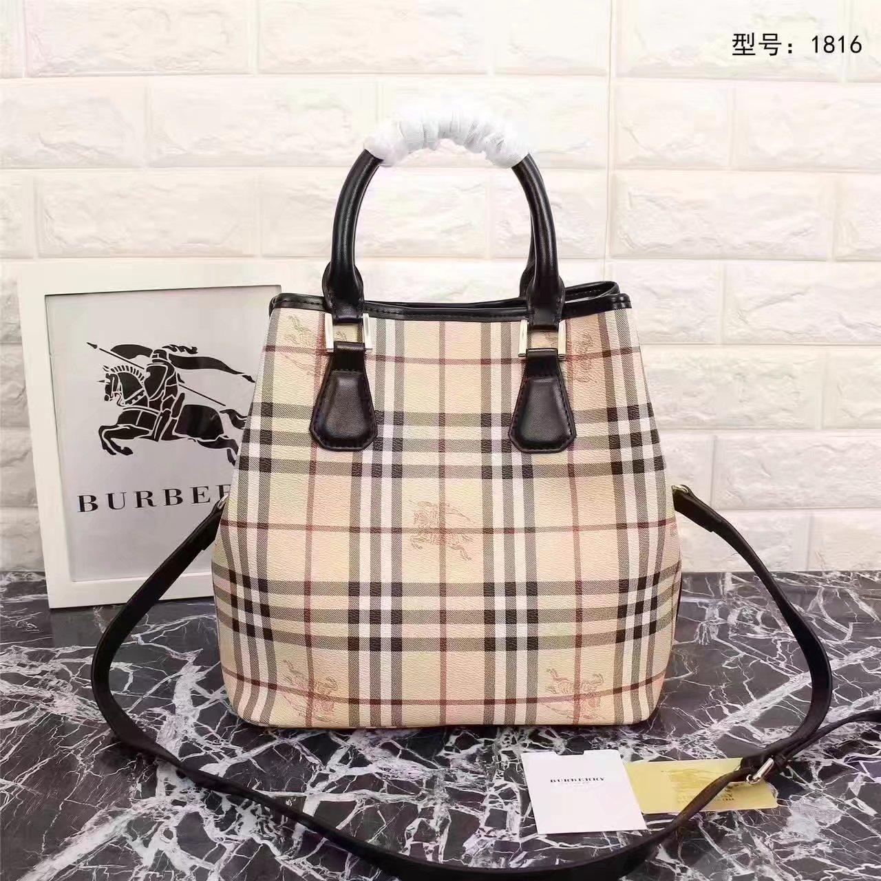 Burberry 1816 Leather and Haymarket Check Shoulder Bag Black