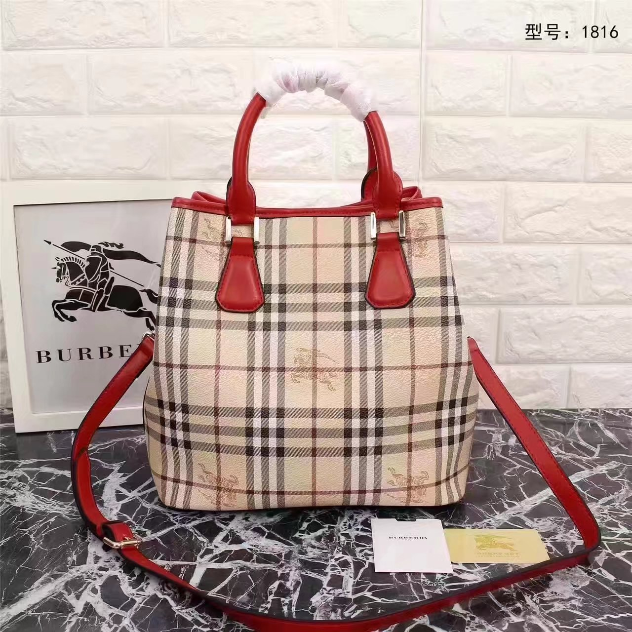 Burberry 1816 Leather and Haymarket Check Shoulder Bag Red
