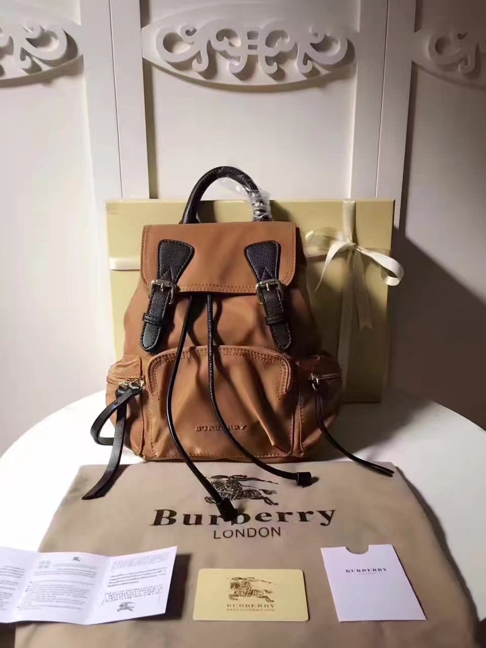Burberry 66171 The Medium Coffee Rucksack in Technical Nylon and Leather